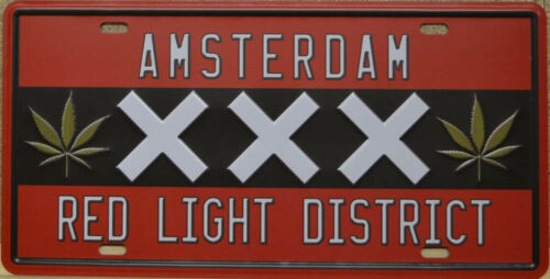 BS 934 Red Light District Tin Sign Amsterdam Canabis 15 x 30cm