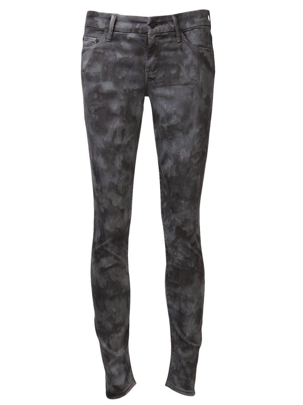 NEW Mother Denim Looker Spontaneous Combustion Grey Tie Dye  Skinny Jeans 25