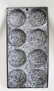 Vintage Graniteware Muffin Pan 8 Cups Mottled Gray Enamelware Kitchen Decor