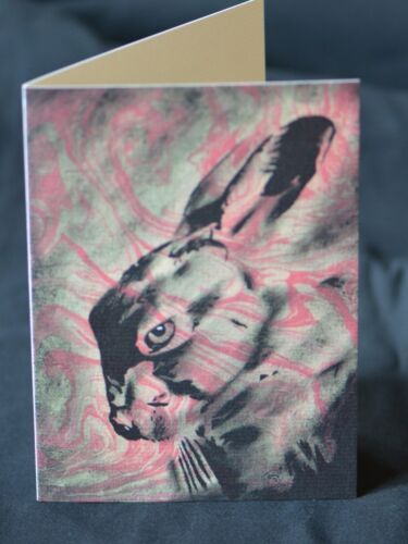 Marbled Art Cards PopArt Nature Collage Hare Greetings Card Natural World