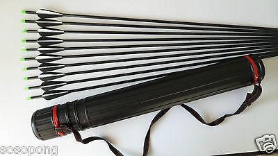 """10Pcs 33"""" Fiberglass Arrows Archery Target Practice +1 Quiver Back Case Tube"""