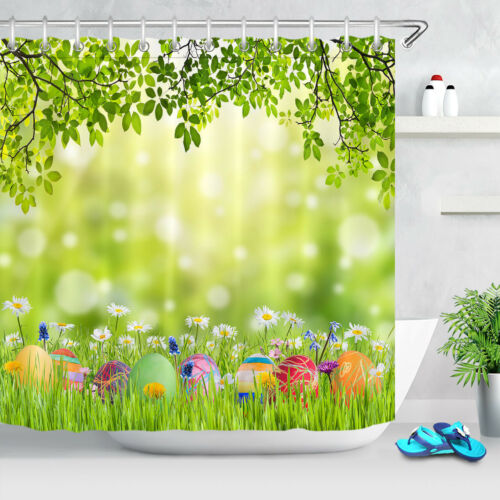Easter Eggs Spring Green Grass /& Wild Flowers Shower Curtain Set Bathroom Decor