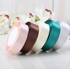 1 Roll 25 Yards 10mm-25mm Satin Ribbon Bow Wedding Party Decor Colors U Pick