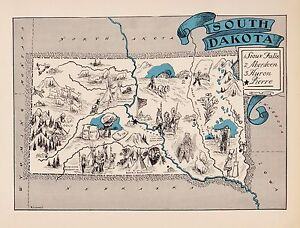 Details about 1930s Antique Animated SOUTH DAKOTA State Map Pierre Sioux  Falls BLU 2418