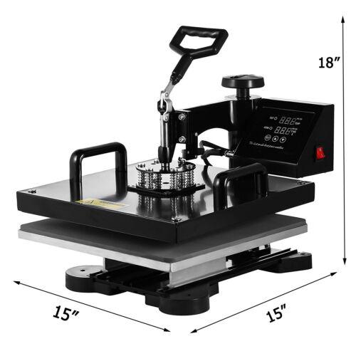 "8 in 1 Heat Press Machine Digital Transfer Sublimation T-Shirt Mug Hat 15/""x15/"""