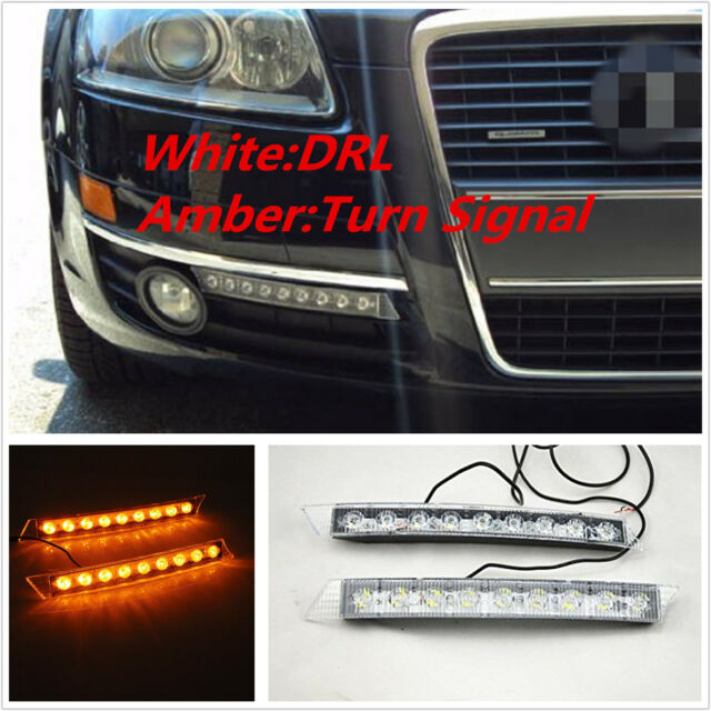 2Pcs Car Auto DRL Light Daytime Turn Signal White Yellow LED Lamp