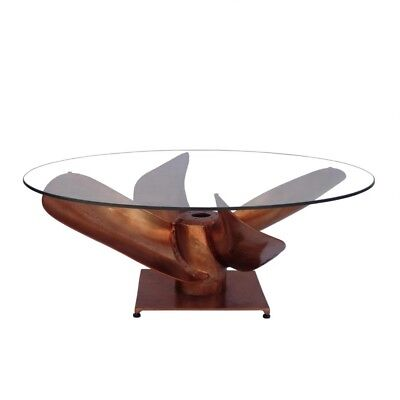 36 w propeller coffee table cast aluminum nautical industrial solid glass top ebay