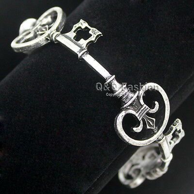 Victorian Vintage Silver Skeleton Key Cross Bridal Bracelet Bangle Steampunk