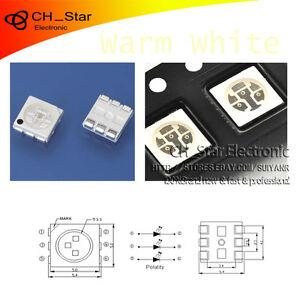 100PCS-SMD-5050-2020-PLCC-6-3-Chips-LED-Blanco-Calido-chip-diodos-emisores-de-luz