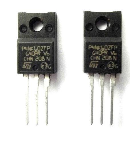 STP4NK60ZFP marqué P4NK60ZFP st trans mosfet n-ch 600V 4A 3-pinto 220FP x2pcs