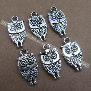 P047-20pcs-Tibetan-Silver-Charm-OWL-Double-sided-Beads-Accessories-Wholesale