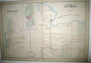 Original-1895-Atlas-Map-Part-of-City-of-Fall-River-Bristol-Co-MA-Mass-PL7-Cty