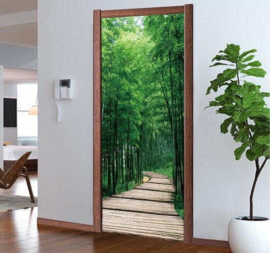 3D Bambuswald Tür Wandlerei Wandaufkleber Aufkleber AJ WALLPAPER DE Kyra