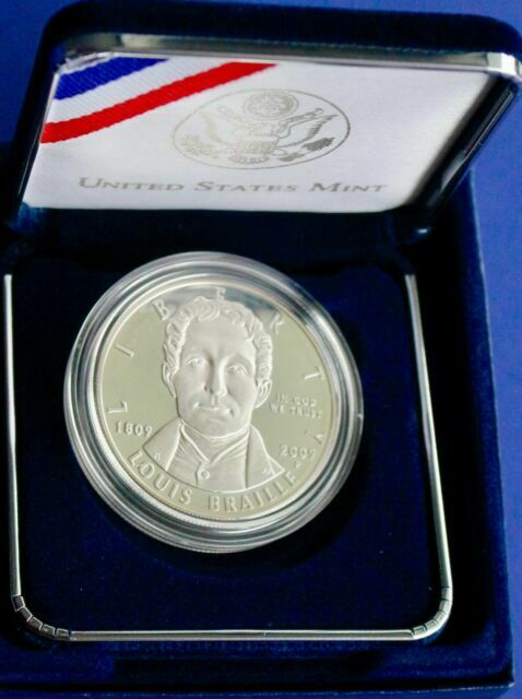 2009 P Louis Braille Bicentennial Commemorative Proof Silver Dollar $1