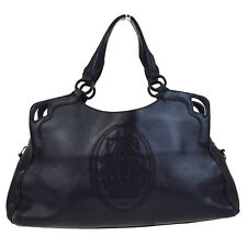 Authentic Marcello de Cartier Logos Shoulder Bag Leather Black Italy 61F958