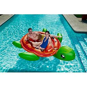 Details about Pool Floats Loungers Swimming ORIGINAL Coolerz Oversized  Turtle Island 118x101