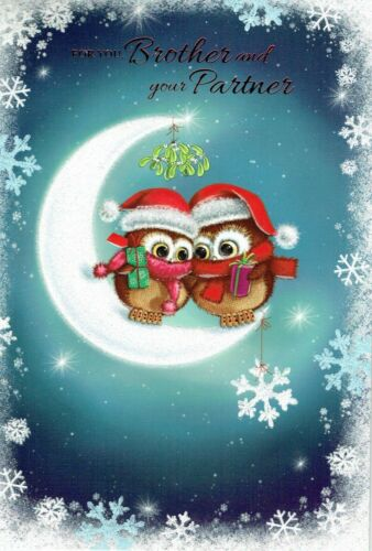 BROTHER AND PARTNER Quality Christmas Card Owls on Moon Design