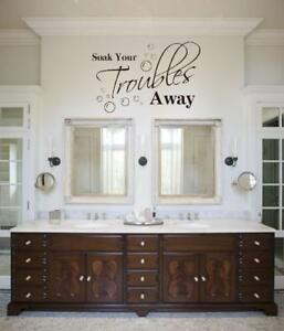 Soak YOur Troubles Viny Wall Decal Sticker Decor Bathroom Brush Design Qoute