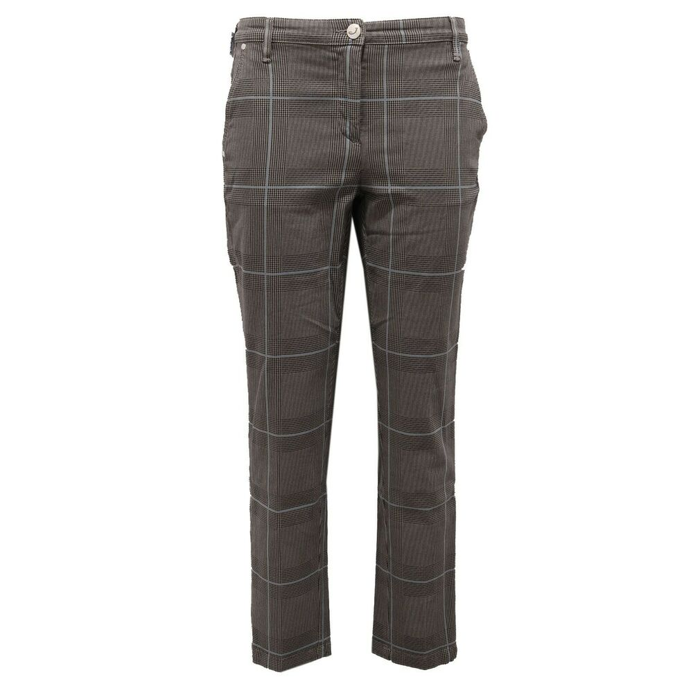6449ab Pantalone Donna Jacob Cohen Grey/light Blue Checked Trouser Woman
