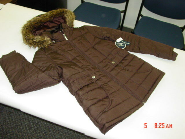 NWT Rich Brown Hooded Coat Faux Fur Trim Collar Classy Womens Belted Accents