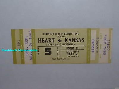 HEART / KANSAS Unused MINT 1983 Concert Ticket OMAHA Civic Auditorium VERY  RARE | eBay