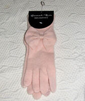 Hannah Rose Sweetheart Pink 100% Cashmere Texting Gloves With Bows Ladies Osz