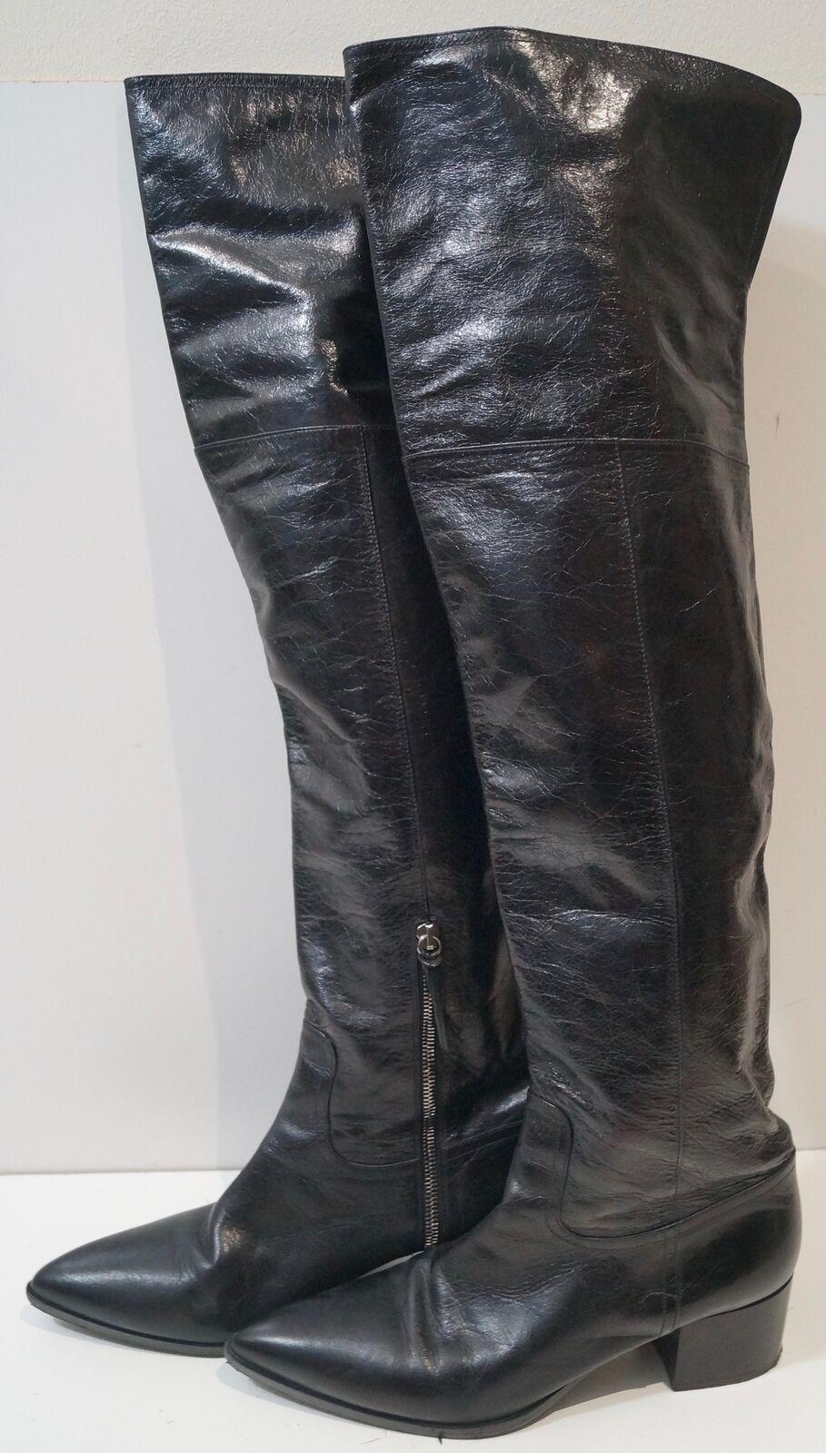 Zapatos de mujer baratos mujer zapatos de mujer baratos Miu MIU Cuero Negro Hecho en Italia Puntera en Punta Sobre la Rodilla Botas Planas IT41 UK8 19fd2b