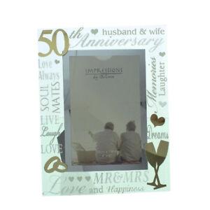 NEW-Golden-50th-Anniversary-Gift-Mirror-3D-Words-Wedding-Glass-Photo-Frame-4x6-039-039