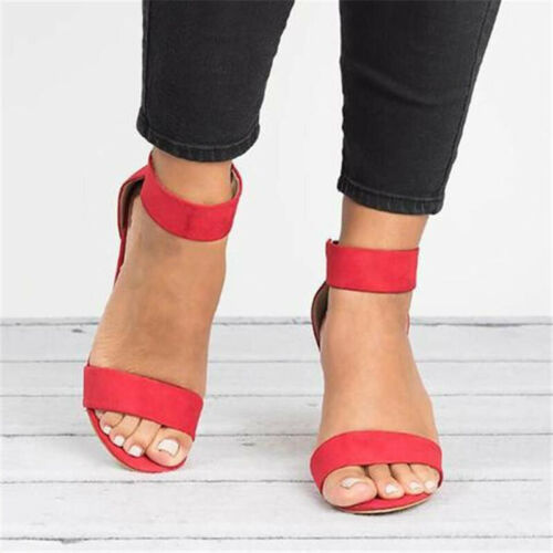 Women Classic Back Zipper Med High Heel Ankle Strap Sandals Casual Party Shoes