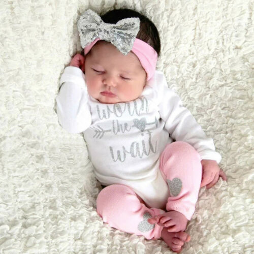 Newborn Infant Baby Girls Clothes Jumpsuit Romper+Pant+Headband Outfits Set Cute