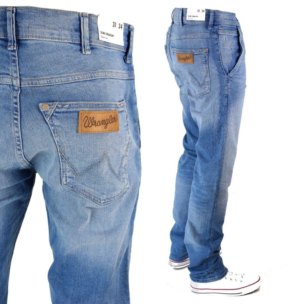 Neuf Wrangler Spencer Régulier Jeans Coupe Slim Bleu Clair Délavé Toutes les