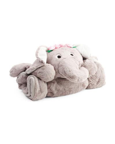 "FROLICS GRAY ELEPHANT CROWN PINK ROSES PLUSH Sleeping Bag 29/"" x 68/""  New w//Tags"