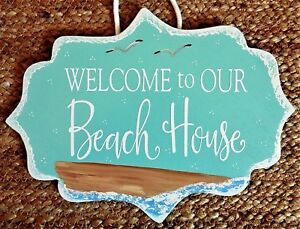 Details About Welcome To Our Beach House Sign Wall Art Plaque Ocean Home Sea Gulls Sand Decor