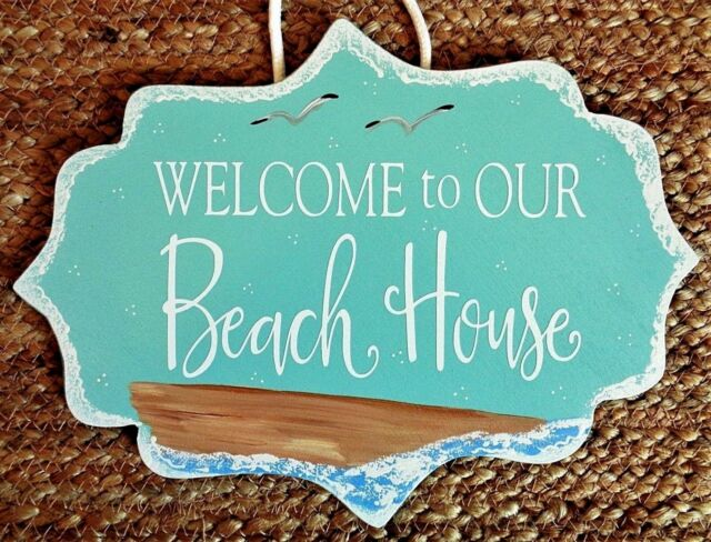 Welcome To Our Beach House Sign Wall Art Plaque Ocean Home Sea Gulls Sand Decor