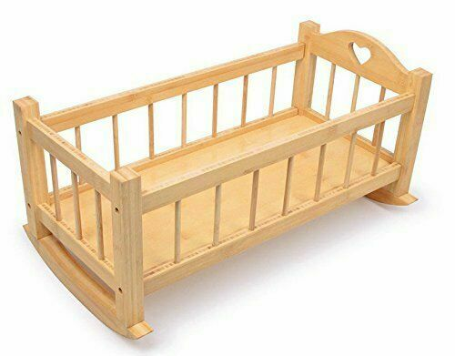 Peaceful Classics Wooden Baby Doll Crib 18 Inch Small Rocking Cradle Natural Oak