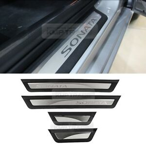 oem genuine chrome sill side door scuff plate for hyundai 2015 2016 lf sonata ebay. Black Bedroom Furniture Sets. Home Design Ideas