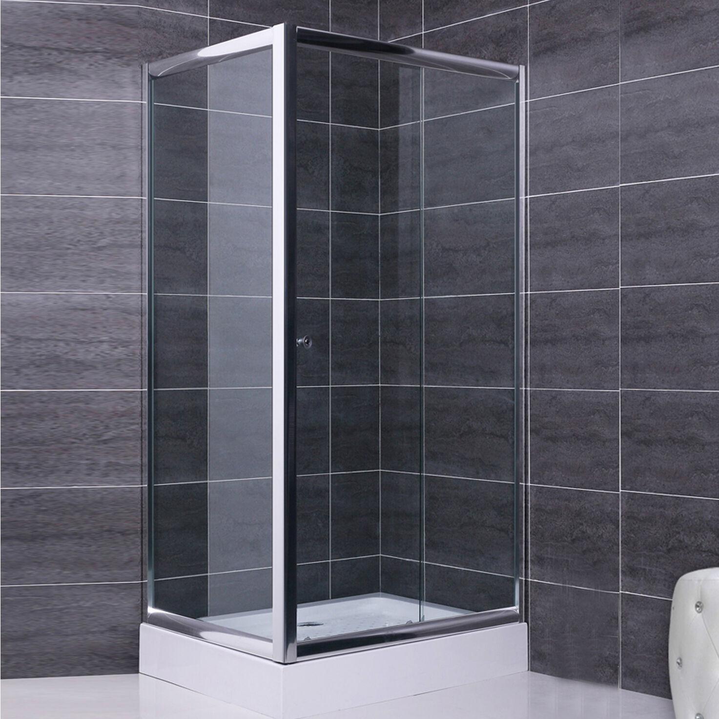 Box doccia 80x130 parete fissa e porta scorrevole in cristallo 6 mm trasparente
