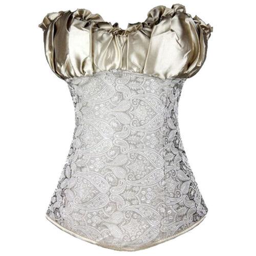 Women Cosplay Fancy Brocade Basque Corset Top Lingerie Bustier Costume Dress TOP