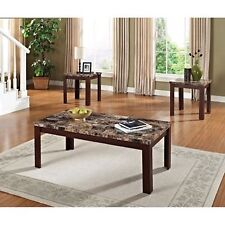 Modern Dark Cherry/Brown 3 Piece Coffee and End Table Furniture Set Accent