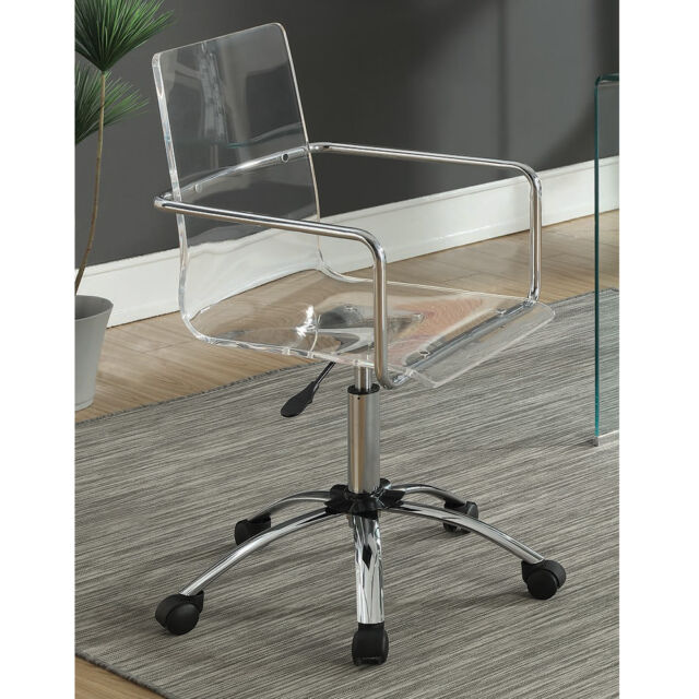 Wondrous Modern Home Office Swivel Chair Adjustable Height Clear Acrylic Steel Base Wheel Alphanode Cool Chair Designs And Ideas Alphanodeonline