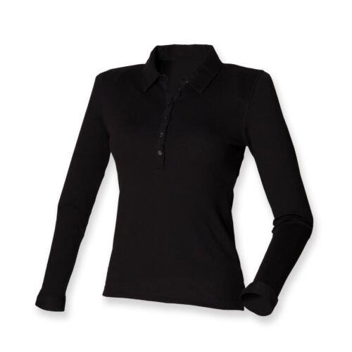 Skinnifit-Señoras Camisa Polo De Manga Larga elastizado-Slim Fit