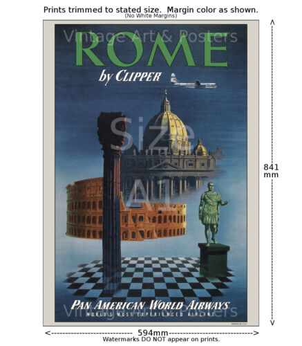 Vintage Airline Travel Poster 6 sizes, matte+glossy avail Pan Am Rome #2