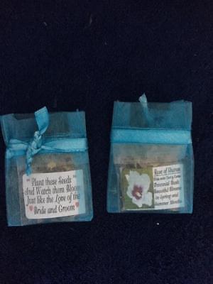 25 Pale PEACH Organza Wedding Favors with Shasta Daisy Seeds Poem Free Ship