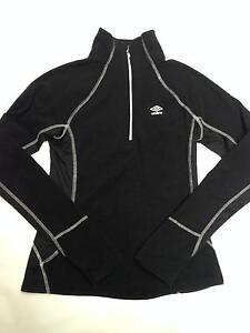Women-039-s-UMBRO-Black-1-2-Zip-Fleece-Pullover-Sweater-Sz-S