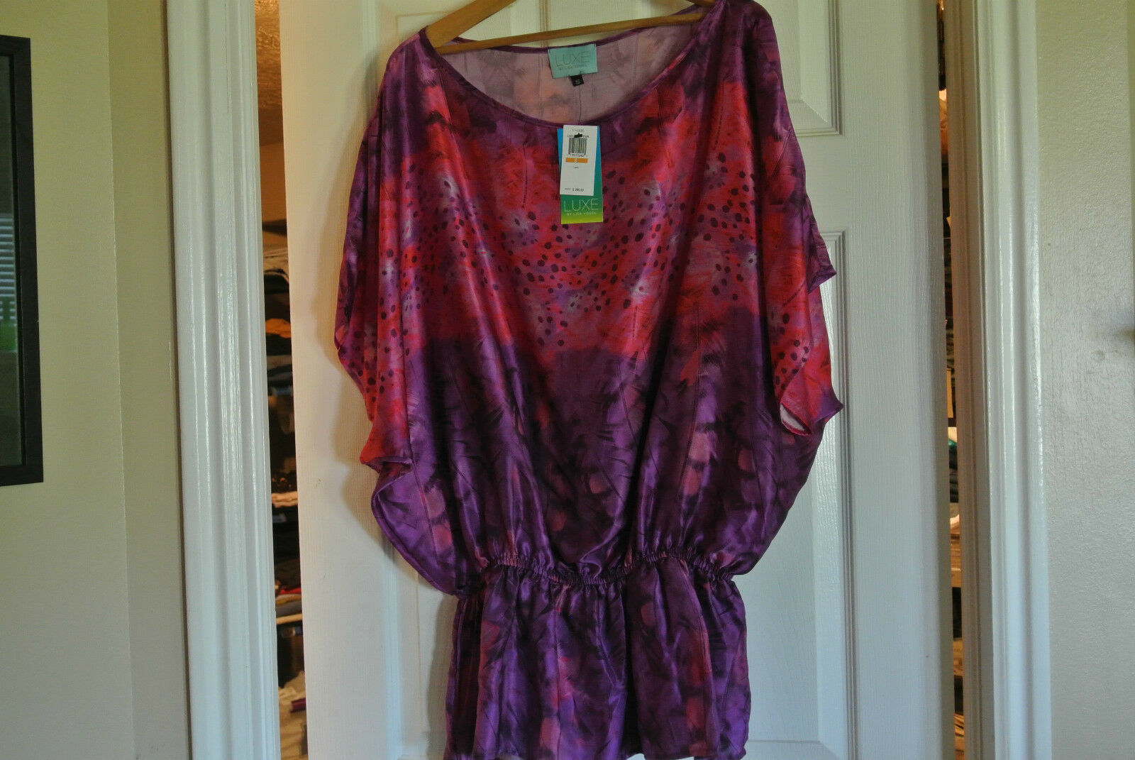 LUXE by LISA VOGEL 100% Silk Tunic Swimsuit Cover-Up  S M NWT Sexy  Gorgeous