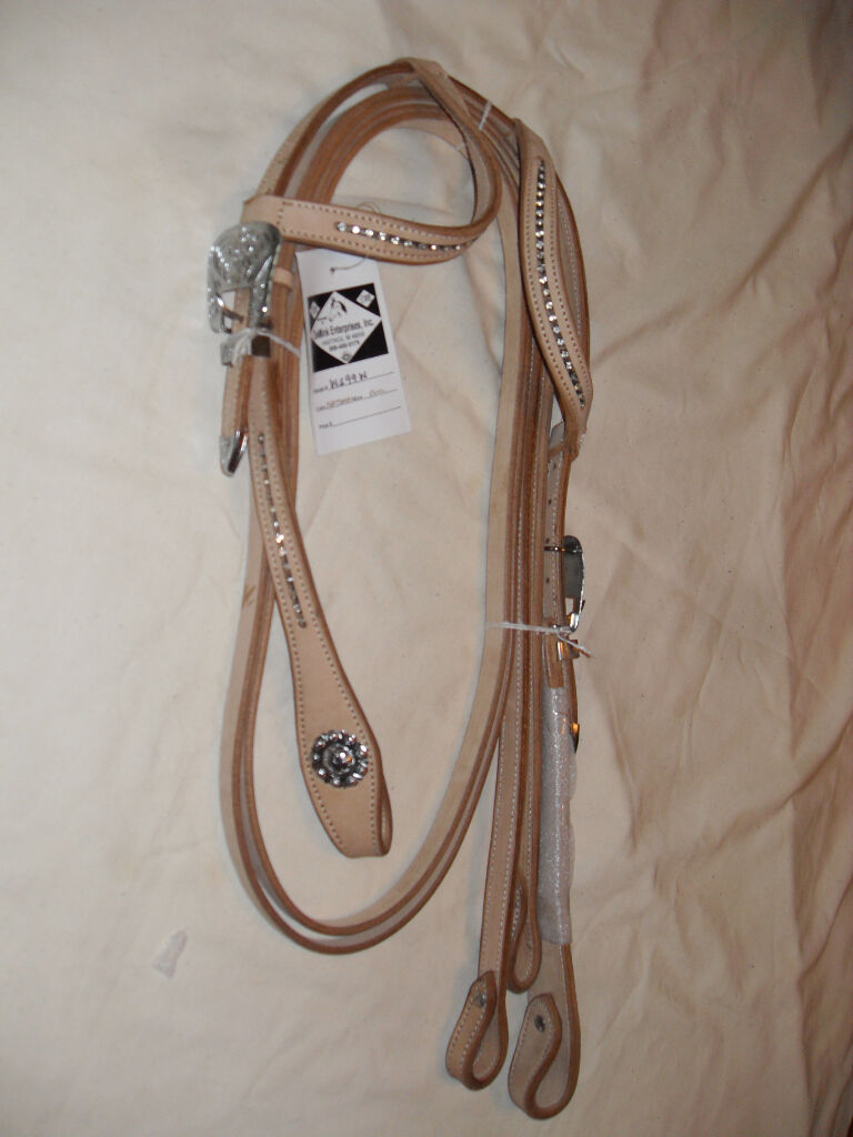 NEW WESTERN HEADSTALL   BRIDLE NAT LEATHER W   CLEAR CRYSTALS & MAT NG REINS  free and fast delivery available