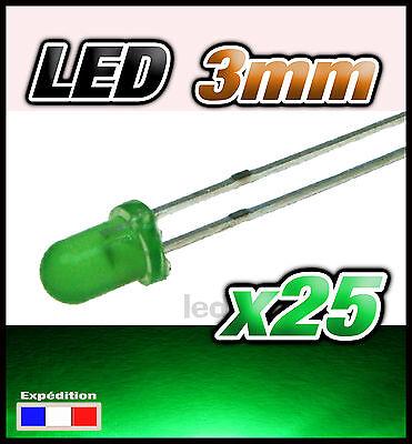 260/25# LED 3mm vert diffusant 25pcs + résistance
