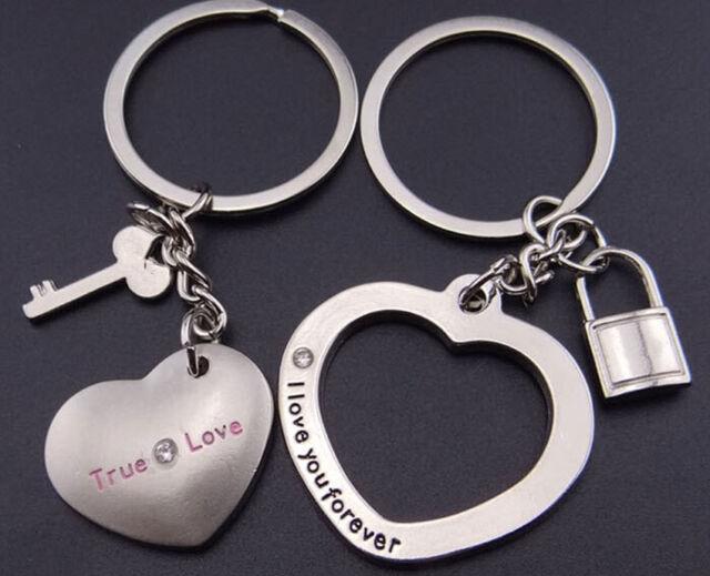 1Pair Newest Love Heart Key Chain Ring Keyring Keyfob Lover Gift Couples Partner