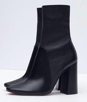 Zara Marant Black Leather Block Heel Sock Ankle Boots 3 36
