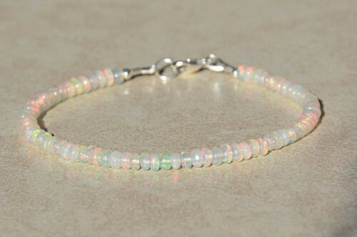 100/% Natural Fire Ethiopian OPAL Faceted Gemstone Bead Bracelet 925 Silver Clasp